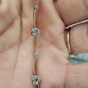 Jewelry - Vintage10k white gold diamond heart bracelet